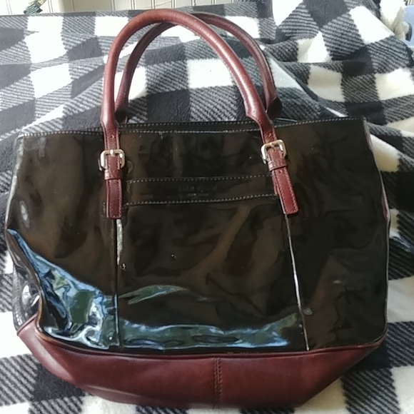 Kate Spade leather and patent leather laptop bag
